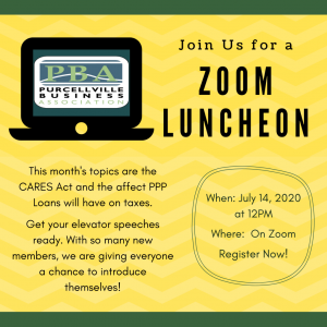 The PBA will be hosting a Zoom luncheon on July 14th from 12p-1p.